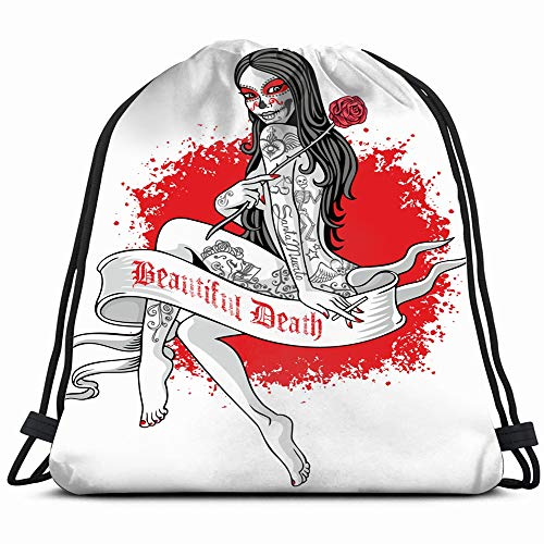Holy Death Day Dead Mexican Sugar Signs Symbols Ghost Drawstring Backpack Sports Gym Bag For Women Men Children Large Size With Zipper And Water Bottle Mesh Pockets -