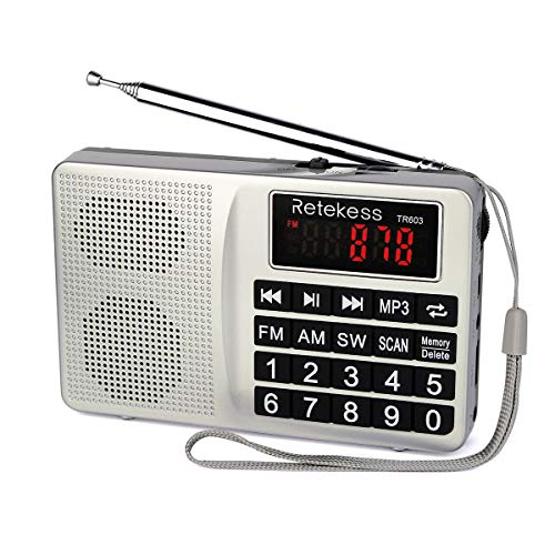 Retekess TR603 Portable AM FM Radio Shortwave Radio with Best Reception Support SD Card USB Driver AUX Input MP3 Player Rechargeable Battery(Silver) (Mp3 Station)