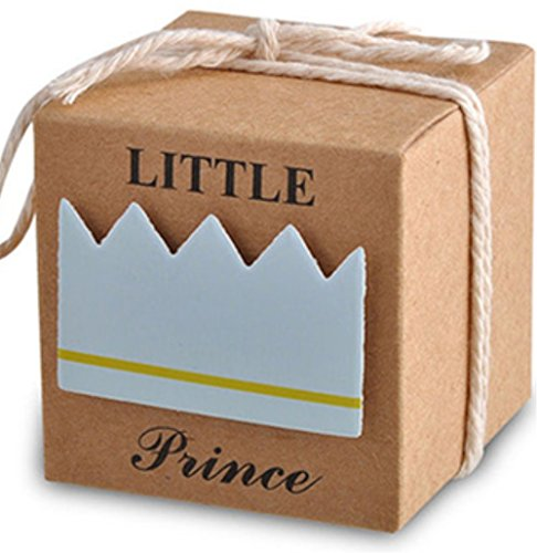 Little Prince Gift (LASLU Little Prince Baby Shower Favor Boxes + 50pcs Twine Bow, Rustic Kraft Paper Candy Bag Gift Box for Baby Shower Party Supplies Cute 1st Birthday Girl Decoration (50pcs, Blue Prince))