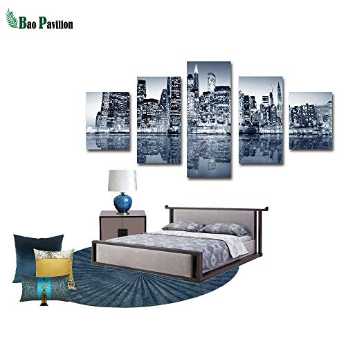 Callula & Partner Canvas Wall Art 5 Piece - Canvas Prints City in The Night for Home Decoration Artworks Wall Decor