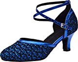 Abby Womens Latin Tango Ballroom Party Wedding Block Heel Round-Toe PU Dance-Shoes Blue US Size8