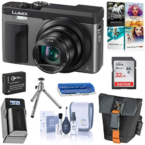 Panasonic LUMIX DC-ZS70S, 20.3 Megapixel, 4K Digital Camera, Touch Enabled 3-inch 180 Degree Flip-Front Display, 30X Zoom (Silver), Bag, Extra Battery-Charger, 32GB SD Card, PC Software Kit, Tripod (Panasonic Touchscreen Camera)