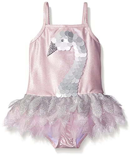 Kate Mack Little Girls' Toddler Swan Princess One Piece Swimsuit, Silver, 3T