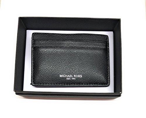 MICHAEL KORS MEN MONEY CLIP CARD CASE (Black Saffiano)