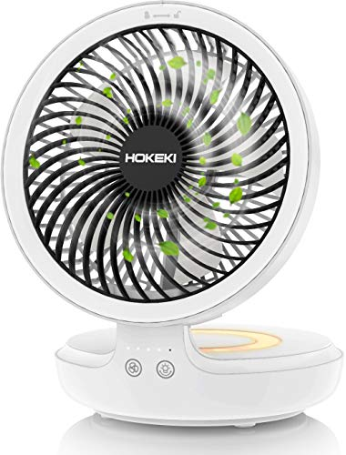 (HOKEKI USB Desk Fan with Night Breathing Light, Air Circulator Desk Fan 90 Degree Rotation Portable Foldable Fan for Home, Office, Travel, Camping, Outdoor, Indoor Fan, 4 Speed Setting, White)