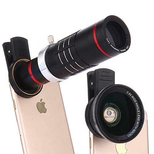 Elecguru HD Clip-on Camera Lens Kit,Universal 18X Zoom Telephoto Lens + 15X Super Macro Lens + 0.6X Wide Angle Lens for iPhone 7/6S/6 Plus/5/4,Samsung,HTC and other Smartphones (Black)