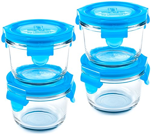 Wean Green Wean Bowls 5.4oz/165ml Durable Leak-Proof Tempered Glass Containers for Homemade Baby Food & More - Blueberry (Set of 4)