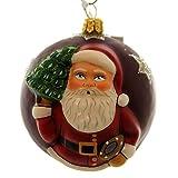 Vaillancourt Folk Art JINGLE BALLS RED SANTA W/ TREE Glass Ornament Art OR14504