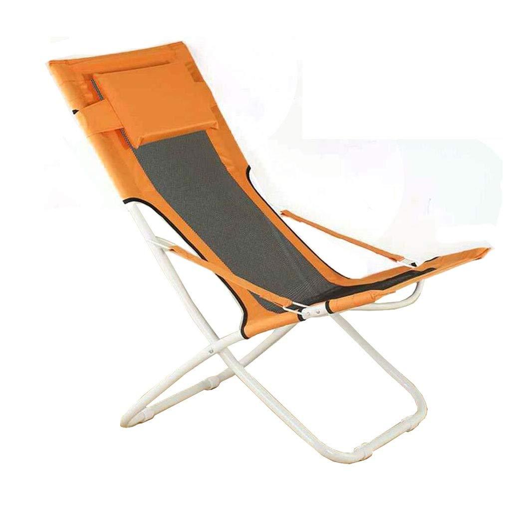 Klappstuhl Lazy Back Home Mittagspause Outdoor Sofa Balkon Liege Freizeit Strand Angeln Hocker 2 Farbe 63  65  89 cm MUMUJIN (Farbe   Mesh Orange) Mesh Orange