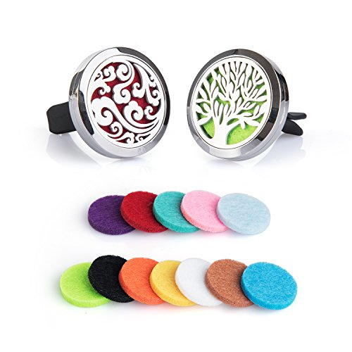 Aromatherapy Perfume (2PCS Auzer Car Fragrance Diffuser Vent Clip Car Air Freshener Perfume Clamp Aromatherapy Essential Oil Diffuser Stainless Steel Locket with Vent Clip and 12 Oil Refill Pads(Tree of life + Clouds))