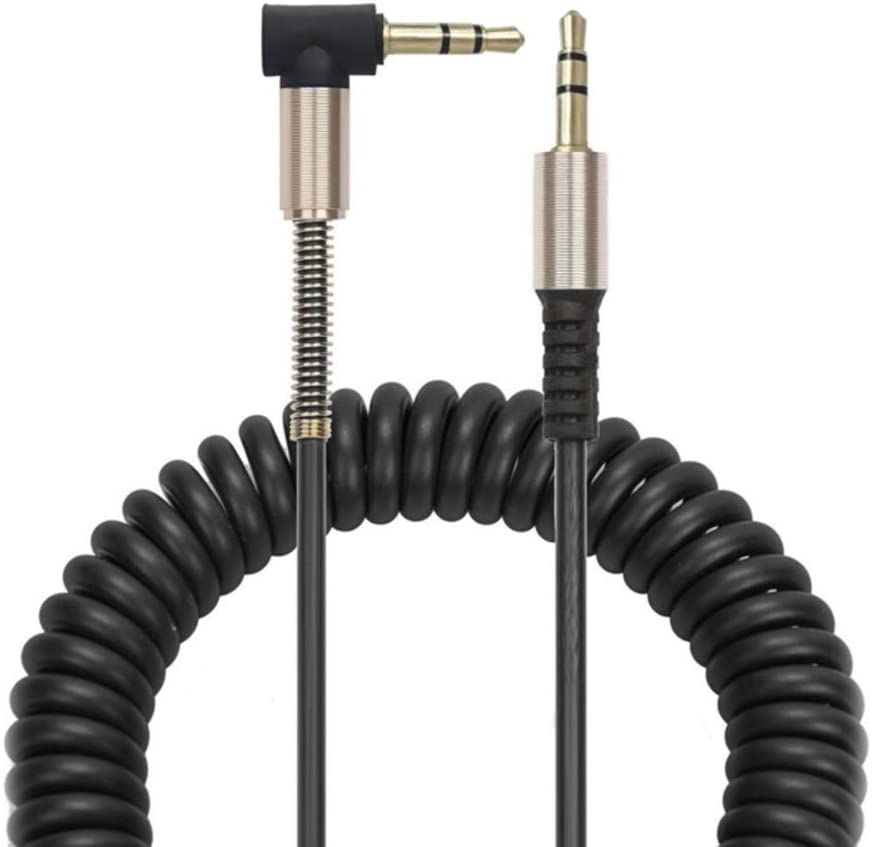 3-Pack of 1-5ft 90 Degree Coiled 3.5mm Audio Cable iPads Samsung and Other 3.5mm DC Plug Port Device Black 3.5mm Aux Cable Compatible with iPhones