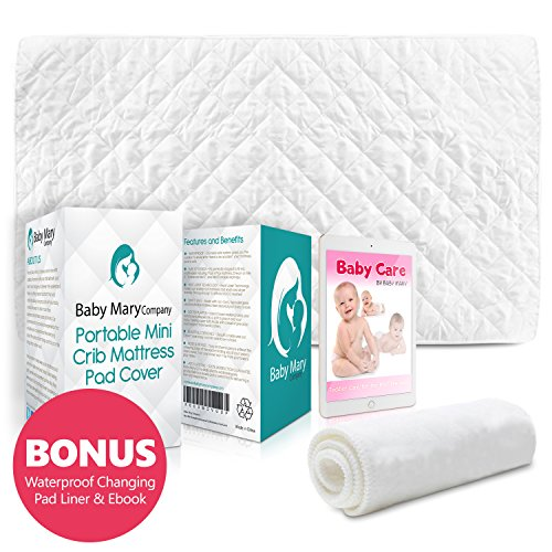 [BabyMaryCo Pack N Play Waterproof Crib Mattress Pad Cover FITS ALL Mini&Foldable Mattresses Portable Cribs Dryer Safe & Hypoallergenic Soft Comfy Fitted Crib Protector-Bonus Changing Pad Liner&E-book] (N/a Mattress Pads)