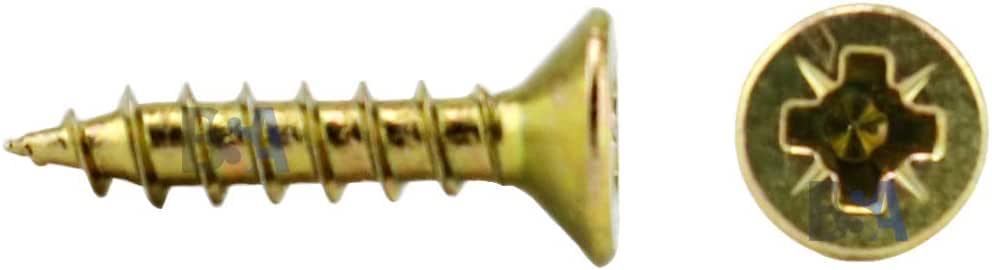 cabeza de cruz Pozidriv PZD tornillos para madera y aglomerado plana avellanada WURTH 01862412-500 tornillos de acero galvanizado amarillo 2,4 x 12