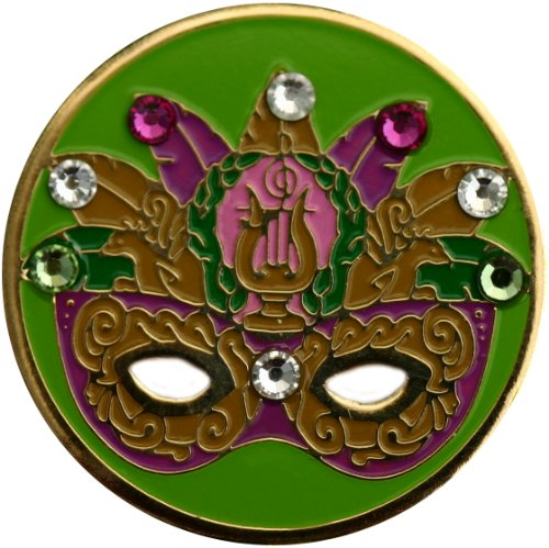 Swarovski Elaborate Green Mardi Gras Mask Golf Ball Marker with Mardi Gras Hat Clip -
