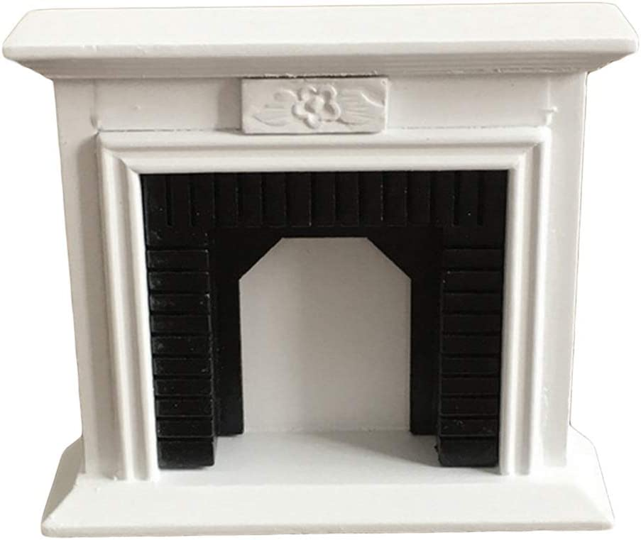 FAMKIT Dollhouse Decoration Accessories,1:12 Dollhouse Miniature Furniture Room Wooden Vintage White Fireplace (White)