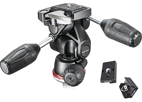 Manfrotto MH804-3W 3 Way head with Two Replacement Quick Release Plates for the RC2 Rapid Connect Adapter