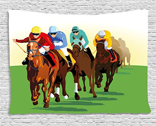 Ambesonne Horse Decor Tapestry by, Colorful Competitive Scene with Jockeys and Racing Horses Equine Retro Artwork, Wall Hanging for Bedroom Living Room Dorm, 80 W X 60 L Inches, Multicolor