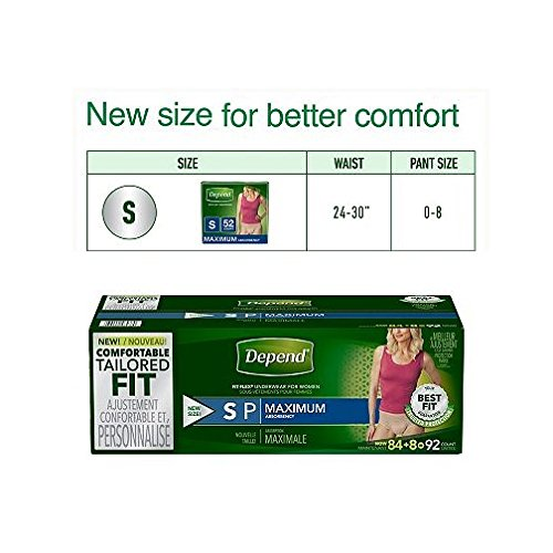 Depend Fit-Flex SMALL Maximum Absorbency Underwear for Women, 92 ct.