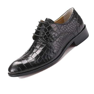 LZMEG Derby Pointu Grain Chaussures en Cuir Affaires