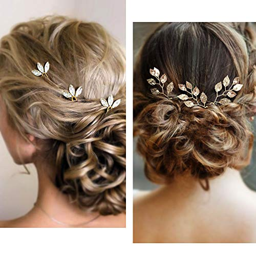 (MJartoria 6 Pcs Wedding Hair Accessories for Brides Vintage Gold Leaf Bridesmaid Headpiece Wedding Hair Pins Clip Bobby Pins Bridal Hairpins Headdress Set Hair Jewelry for Bridal Women)