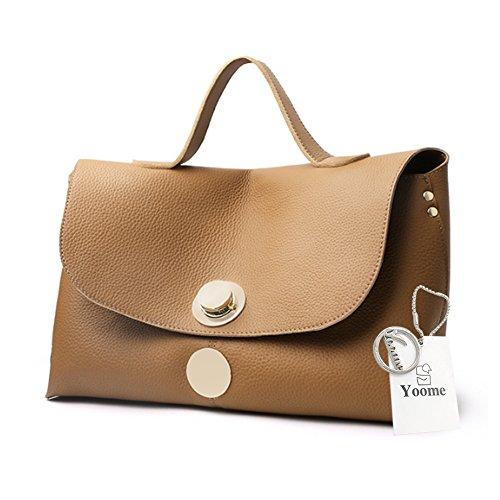 Yoome Genuine Leather della mucca per il sacchetto di tote della borsa delle donne sacchetti eleganti allingrosso per il sacchetto del sacchetto di trucco di fascino - il nero Cachi