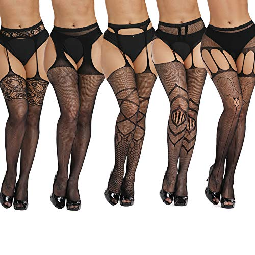 akiido High Waist Tights Fishnet Stockings Thigh High Stockings Pantyhose (A-008-black8, One Size) (Best High Waist Pantyhose)