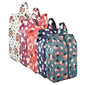 5 Pack Portable Travel Shoe Bags Colorful Storage Organizer Bag with Zipper for Women