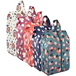 Zmart Portable Shoe Bags for Travel Colorful Flower Waterproof Traveling Shoe Storage Organizer Packing Cubes with Zipper for Women 5 Pack