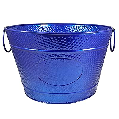 BREKX SeaSide Blue Hillcrest Pebbled Galvanized Beverage Tub Wine Bucket - Max Shine Exterior
