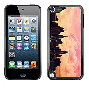 Plastic Shell Protective Case Cover || Apple iPod Touch 5 || Pink Yellow Nyc Sunset @XPTECH