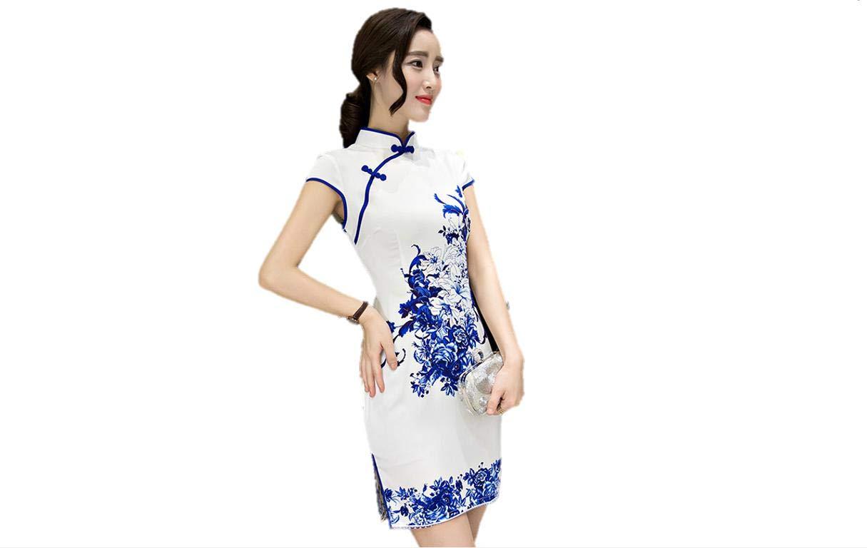 Kurop Women's Sexy White Floral Short Chinese Evening Dress Wedding Dress Cheongsam Qipao Flower Printing (S (US 0-2), White Floral Short) by Kurop