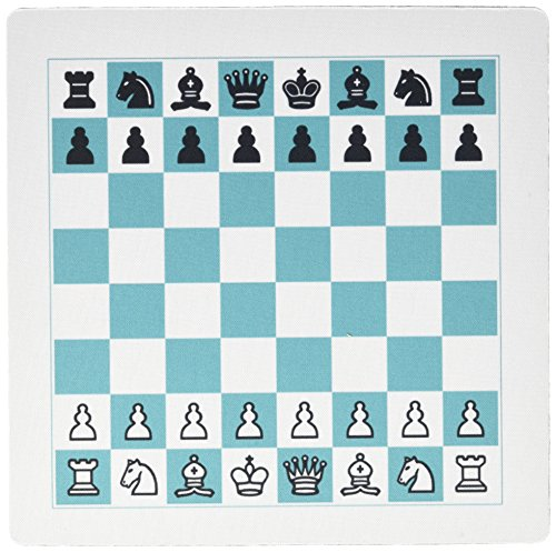 3dRose LLC 8 x 8 x 0.25 Inches Mouse Pad, Full Chess Board in Turquoise N White (mp_128761_1)