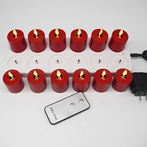 Pack of 12 Rechargeable Votives Moving Flame Flameless LED Tealight Candles with Remote Control and Timer by NONNO&ZGF (Image #4)