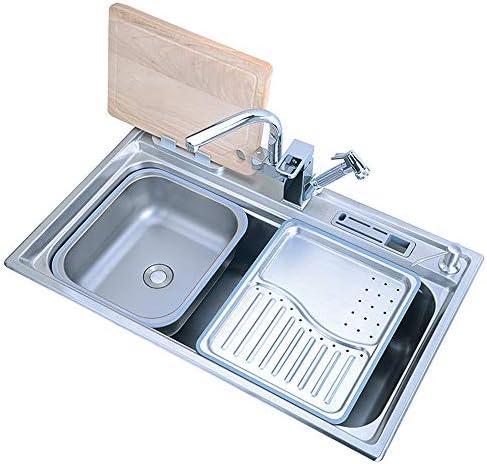 キッチンシンク、多機能ステンレスシンク、シングルシンクキッチン洗面器、12個セット、78cm * 48cm食器洗いシンク、家庭用シンク