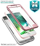 iPhone 8 Plus Case, iPhone 7 Plus case, i-Blason [Heavy Duty Protection] [Magma Series] Shock Reduction/Full Body Bumper Case with Built-in Screen Protector for iPhone 8 Plus 2017 (Pink)