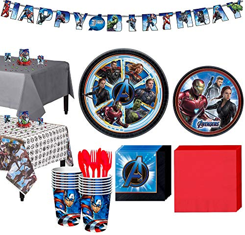 Party City Avengers: Endgame Tableware Supplies for 16 Guests, with Table Covers, Birthday Banner and More