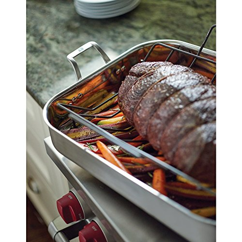 """51GHXUaHdSL - Calphalon 1948245 Signature Stainless Steel Roaster Pan with Rack, 16"""", Silver"""