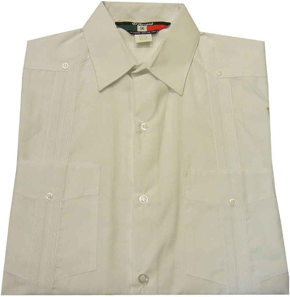 DAccord Long Sleeve Plain Front Guayabera Shirt White