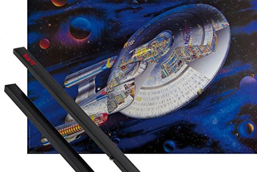 1art1 Poster + Hanger: Star Trek Poster (37x26 inches) The Next Generation U.S.S. Enterprise NCC-1701-D, Space, The Final Frontier and 1 Set of Black Poster Hangers -