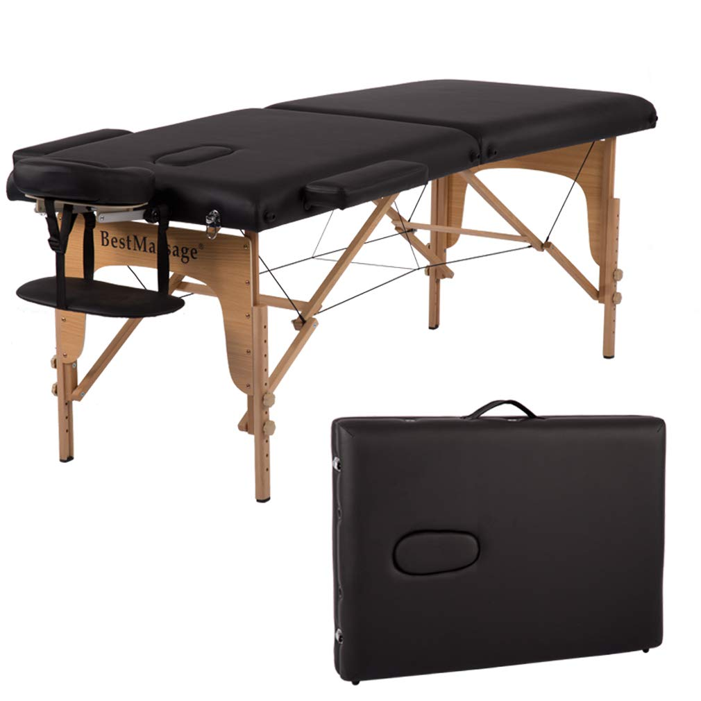 Portable Massage Table 84 Inchs Length 28 Inch Width PU Leather Massage Bed Spa Bed Height Adjustable 2 Fold Massage Tables W Carrying Case Salon Bed