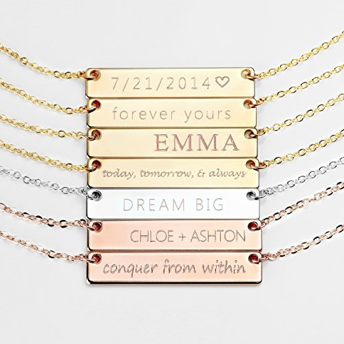 Personalized Necklace Name Plate Bar Gold Necklace Custom Silver Necklace Wedding Bridesmaid Gift Mom Valentine's Day Gifts for Her - (Gold Nameplate Pendant)