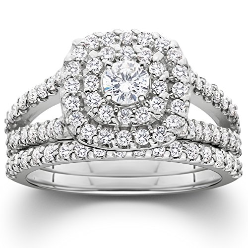 1 110ct Cushion Halo Diamond Engagement Wedding Ring Set 10K White Gold