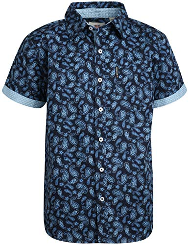 Ben Sherman Boys Short Sleeve Button Down Woven Shirt, Navy Paisley, Size 10/12'