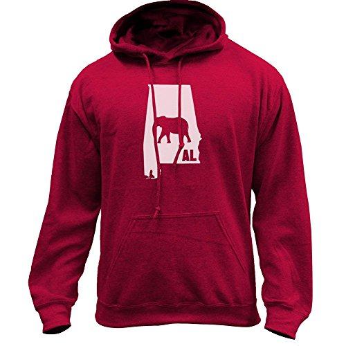 Original I Elephant Alabama Classic State Pullover Hoodie (2X-Large, Crimson)