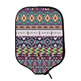 YOLIYANA Native American Durable Racket Cover,Ethnic Traditional Aztec Pattern Geometric Figures and Arrows Art for Sandbeach,One Size