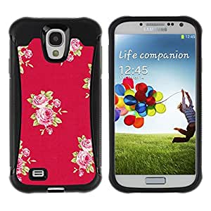 Suave TPU Caso Carcasa de Caucho Funda para Samsung Galaxy S4 I9500 / rose pattern pink lilac purple red / STRONG