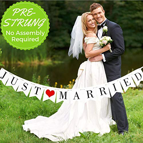 Miranor - Just Married Banner - Just Married Banner Wedding - Just Married Banner for Car - Wedding Decorations for Reception - Wedding Car Decorations Kit (Pre-Strung)