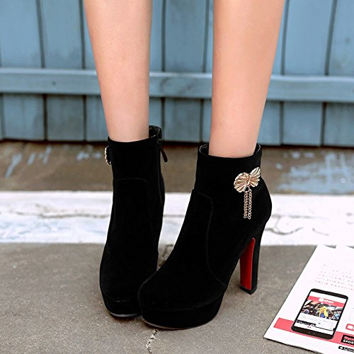 Elegant Boots Sexy Ornament High Black Heel Carolbar Short Zip Metal Women's SqfxcwEz5