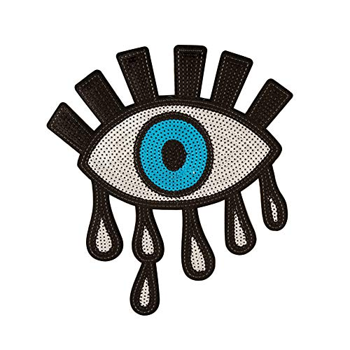 Punk Eye Eyeball Applique Iron-On Embroidered Shiny Sequins Patch Accessory -