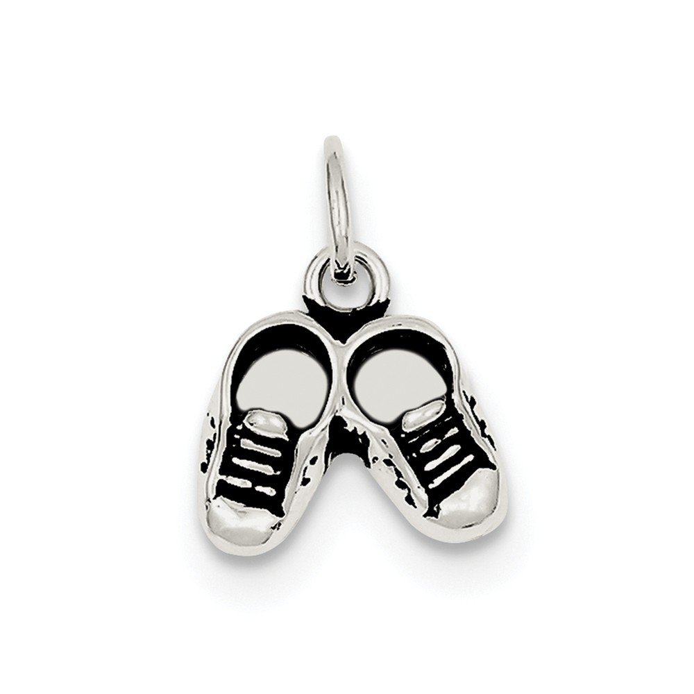 13mm x 17mm Solid 925 Sterling Silver Antiqued-Style Childs Shoe Pendant Charm